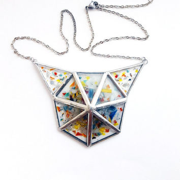Cat! Stained glass necklace-3D-Tiffany-multicolor-tin-pewter-recycled glass-modern-hipster