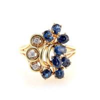 Sapphire Diamond Cluster 14k Gold Statement Ring