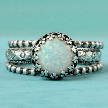 Opal ring set of 3, sterling silver rings, 8 mm lab white opal vintage style band, 2 beaded rings, ring stack, stacking rings, handmade ring