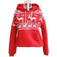 Winter Womens Deer Hooded Hedging Loose Sweater Coat 3 Colors New Arrival Super (Red)