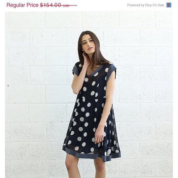 Sheer Polka Dot dress, Blue