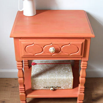SOLD -Coral-Gold Nightstand with matching storage box, End Table, Side Table