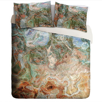 Duvet Cover with abstract art, king or queen in rust, blue and green, Rust Belt