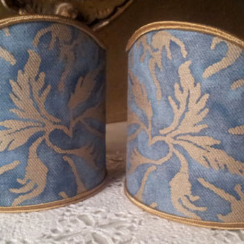 Pair of  Wall Sconce Clip-On Shield Shades Fortuny Fabric Blue & Gold Demedici Pattern Half Lampshade - Handmade in Italy