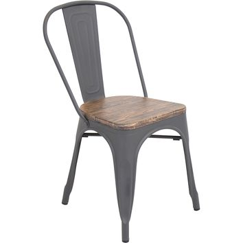 Oregon Dining Chair (Set of 2), Gray/Wood