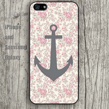 Anchor flowers pink iphone 6 6 plus iPhone 5 5S 5C case Samsung S3,S4,S5 case Ipod Silicone plastic Phone cover Waterproof A0584