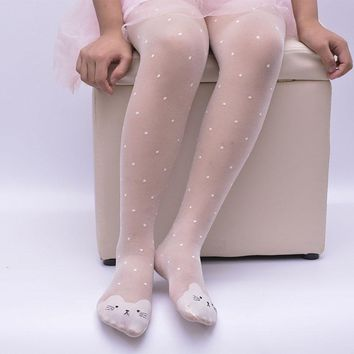 Spring Summer Baby Girls Tights Character Children's Kids Elastic Stockings Thin Silk Pantyhose Lovely Dot Cat Stocking