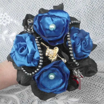 Blue and Black Bouquet, Brooch Bouquet, Broche Bouquet, Fabric Flower Bouquet. Satin, Pearls, Wedding Party package, Bridal Party