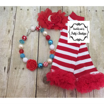 Thing 1 and Thing 2 Dr Seuss Accessories Set with Leg Warmers, Baby Headband & Chunky Bauble Necklace