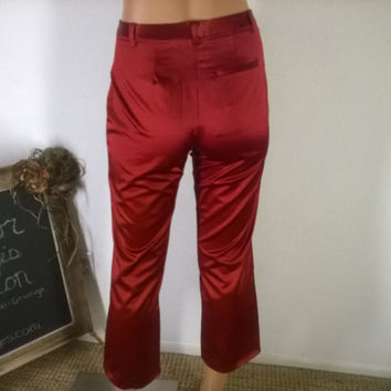 90's Cropped Stretch satin Pants by GAP. Red, Retro, Rocker,  High Waisted Size XS