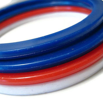 Red White and Blue Plastic Bangle Bracelets