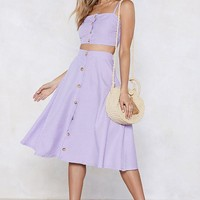 Let's Settle This Gingham Crop Top and Skirt Set
