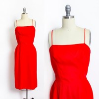 Vintage 1960s Dress - Red Chiffon Spaghetti Strap Party Cocktail Wiggle Dress 50s - Small