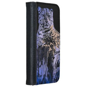 Ice Blue Abstract Tiger iPhone 6 Wallet Case