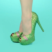 Swarovski Crystal Encrusted High Heels As Seen by venusinchains