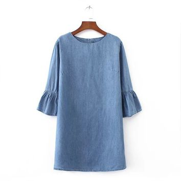 2017 Autumn women sweet flare sleeve denim dress O neck half sleeve fashion straight solid ladies brand casual dresses vestidos