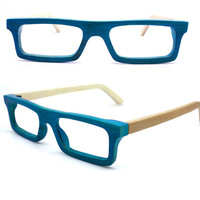 Turquoise color handmade  square  bamboo  eyeglasses  sunglasses 1201 C0701 with wood box