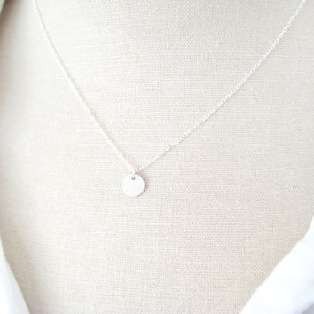 tiny disc necklace, gift for her, bridesmaids necklace, round disc circle necklace, gold filled or sterling silver necklace