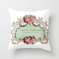 Shabby Chic Carte Postale Throw Pillow by Nika In Wonderland
