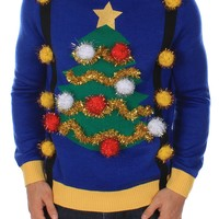 Ugly Christmas Tree Sweater with Suspenders