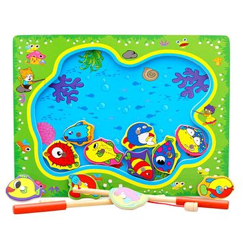 1 Set Magnetic Go Fishing Board Game Wood Toys Baby Intelligence Educational Toy Boy Girl Kids Toy Multicolor Montessori Puzzles