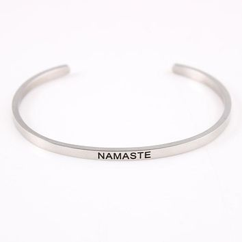 Namaste Stainless Steel Engraved Positive Inspirational Quote Hand Stamped Cuff Mantra Bracelet Bangle as Father day gift
