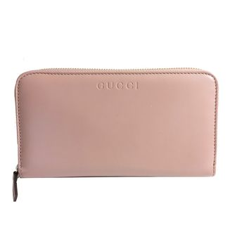 Gucci Women's Soft Pink Full Zip Leather Wallet 363423
