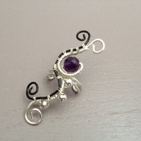 Silver and black wire earcuff, Amethyst