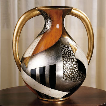 Earths Core Silver Metallic Porcelain Vase