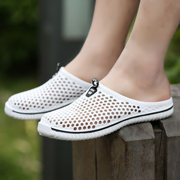 summer garden shoes unisex breathable hole beach shoes flat soft and comfortable shoes big size 45