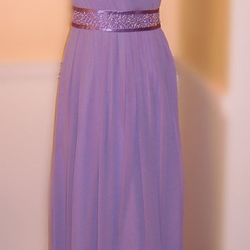 Women's One Shoulder Long Evening Dresss, Chiffon Prom Dress with Beadings, Purple Bridesmaid Dress