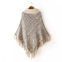 Turtleneck Tassel Cape Sweater