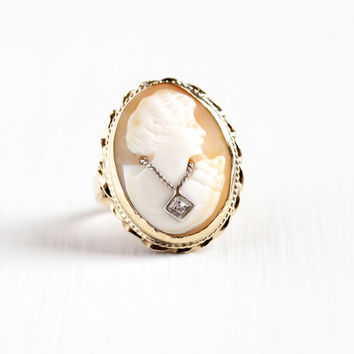 Vintage 14k Rosy Yellow & White Gold Diamond Cameo Ring - Size 7 Habillé Necklace Carved Oval Shell 1940s Classic Statement Fine Jewelry