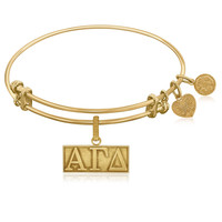 Expandable Bangle in Yellow Tone Brass with Alpha Gamma Delta Charm Symbol