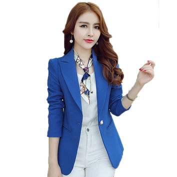 2016 Spring Autumn Office Business Suits Ladies One Button Slim Fit Basic Jacket Bleiser Feminino Women Blazers And Jackets