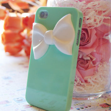 Light Turquoise Blue Iphone 4 4s Case With Large White Bowtie Decoden Cell Phone Case