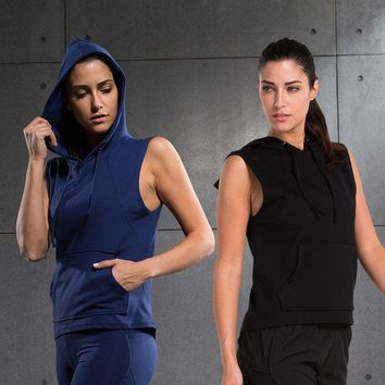 Womens Running Vest Hooded Sports shirt Gym Hooded Sports Vest Womens Tank Tops Bodybuilding Fitness Shirt Vest