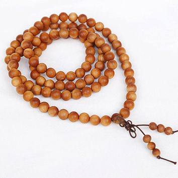 108pc 8mm Barbie sandal wood Fresh Natural Smell  Wooden Beads Mala Necklace