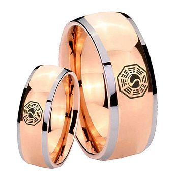 His Hers Rose Gold Dome Lost Dharma Two Tone Tungsten Wedding Rings Set