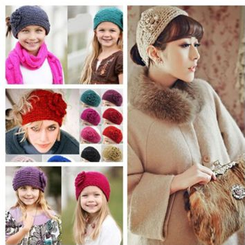 Ms. hair with camellia flowers headband warm wool hair band width hair band 24 colors
