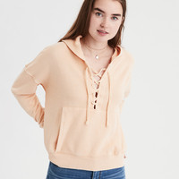 AE Beachy Lace Up Hoodie, Yellow