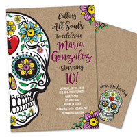 Sugar Skull Birthday Invitations
