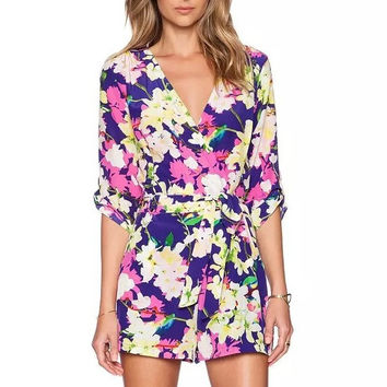 LF173 Fashion Ladies' elegant sexy Floral print jumpsuits   holiday Half Sleeve Waist Elastic Tunic V-neck Rompers