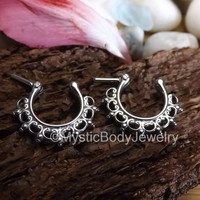 "3/8"" Septum Nose Ring Clicker 16g 1.2mm Silver Lace Gauge Hinged Hoop Body Jewelry Tribal Nostril Piercing Rings Surgical Steel 316L Pierced"