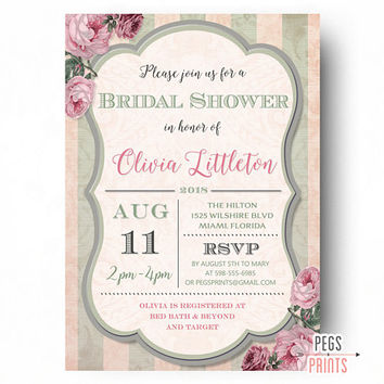 Floral Bridal Shower Invites - Mint Bridal Shower Invitation (Printable) Pink and Mint Bridal Invitations - Elegant Shower Invitations