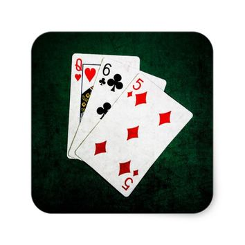 Blackjack 21 point - Queen, Six, Five Square Sticker