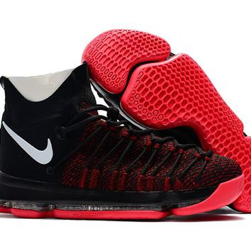 auguau Nike Men's Durant Zoom KD 9 Flyknit Basketball Shoes Black Red 40-46