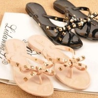 DCCKUN6 NEW WOMEN'S SANDALS RIVET BOW SLIPPERS FLAT SANDALS