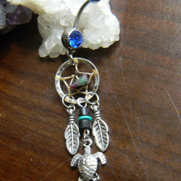 Turtle Dream Catcher Belly Ring with Ruby Zoisite Chips
