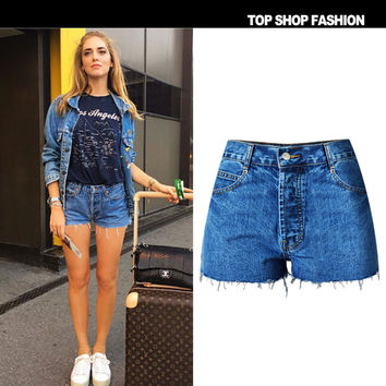 Denim High Waist Slim Plus Size Shorts [7976026753]